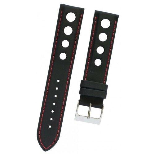 T600020323 Черный кожаный ремешок TISSOT, телёнок, 19/18, с отверстиями, красная прострочка, стальная пряжка, для часов PR 50 2000 (J378/478) 0 pr на 100
