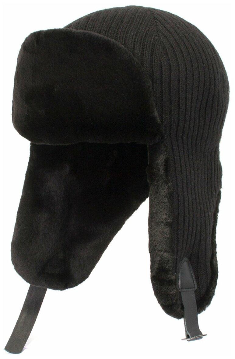 Ушанка Antar 840921 из шерстяного трикотажа с мехом, размер 60-61, черный — купить по выгодной цене на Яндекс.Маркете