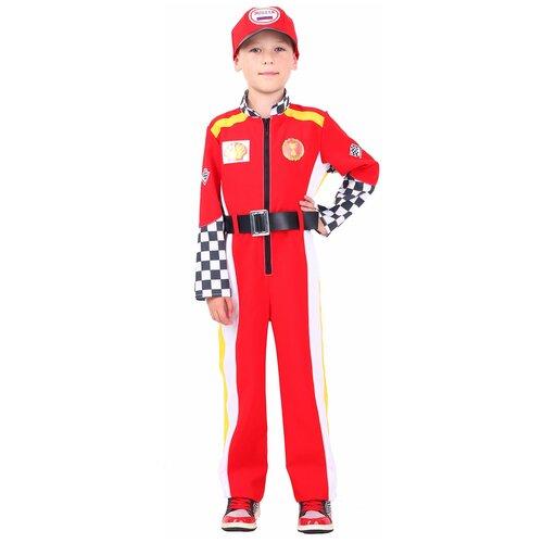Фото - Костюм пуговка Гонщик (7003 к-20), красный, размер 128 костюм пуговка кузнечик 2080 к 20 зеленый размер 128