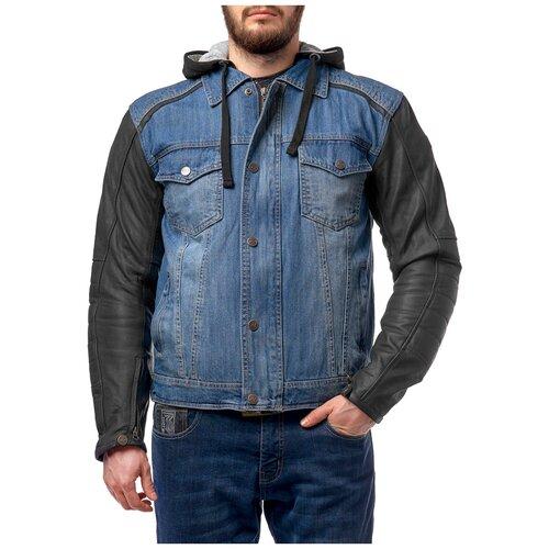 Кожаная с текстильными вставками куртка Moteq Groot синий/черный 3XL (Размер производителя)