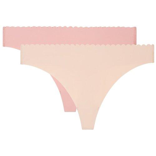 DIM Набор трусов стринги Body Touch Microfibre, 2 шт., размер 44/46, бежевый/розовый