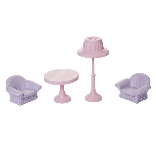 Фото - Набор мебели для кукол Огонек Гостиная, Маленькая принцесса, мини, нежно-сиреневая (С-1558) ванная комната для куклы огонек маленькая принцесса