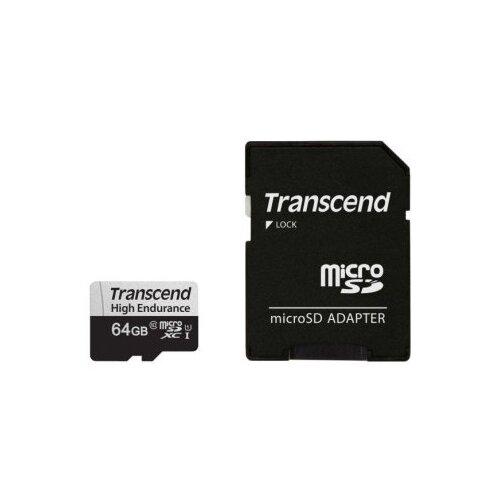 Фото - Карта памяти Transcend microSDXC 350V 64 GB, чтение: 95 MB/s, запись: 45 MB/s, адаптер на SD карта памяти sony sr uxa 16 gb чтение 95 mb s запись 30 mb s адаптер на sd
