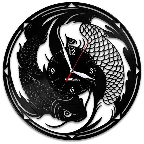 Часы из виниловой пластинки (c) VinylLab Знак зодиака «Рыбы»