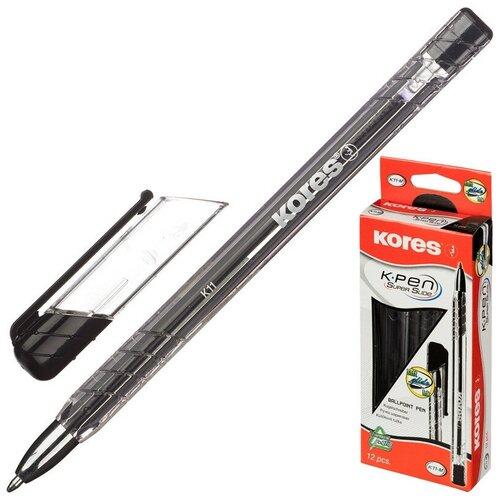 Купить Ручка шариковая KORES К11 неавт M(1мм) треуг.корп., масляная, черная 3 штуки, Ручки