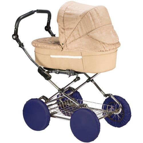 чудо чадо чехлы на колеса для коляски диаметр 18 28 см цвет васильковый 2 шт Чехлы на колеса для детской коляски на резинке ROXY-KIDS, 4 шт. цвет темно-синий