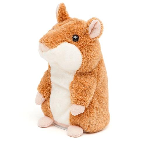 Говорящий хомяк-повторюшка интерактивная игрушка, 15см, коричневый
