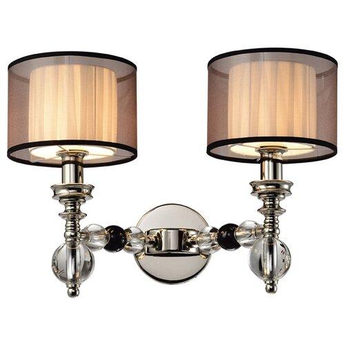 Настенный светильник Люмьен Холл Monelya LH1054/2W-NK-WT, E14, 80 Вт, кол-во ламп: 2 шт., цвет арматуры: никель, цвет плафона: белый