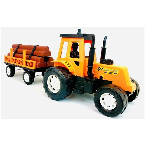 Купить Инерционный трактор Лесовоз большой 44 см, детская игрушка Farm Tractor 1688A-3, 44х15х14 см, Play Smart, Машинки и техника