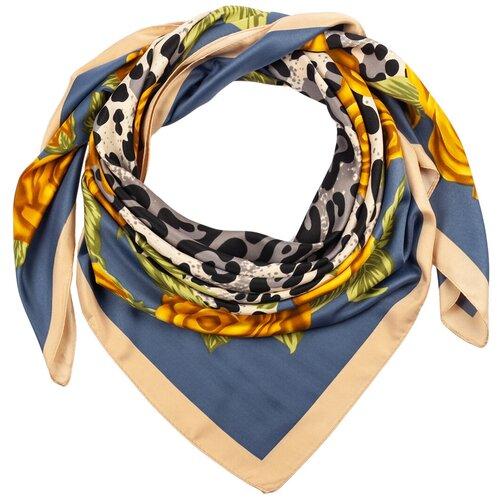Шелковый платок на шею/Платок шелковый на голову/женский/Шейный шелковый платок/стильный/модный /21kdg85326-849a5vr синий,желтый/Vittorio Richi/100% шелк/90x90