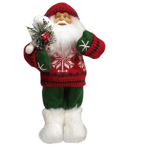 Фигурка Maxitoys Дед Мороз в красном свитере с мишкой 32 см красный фигурка maxitoys дед мороз в свитере со снежинкой и лыжами 32 см белый