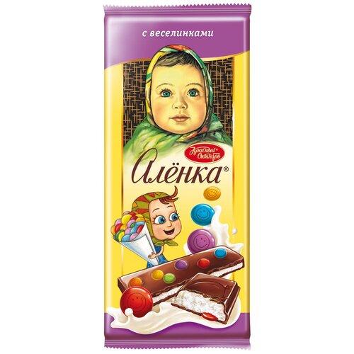 шоколад алёнка молочный порционный с молочной начинкой 100 г Шоколад Алёнка молочный с молочной начинкой и веселинками, 87 г