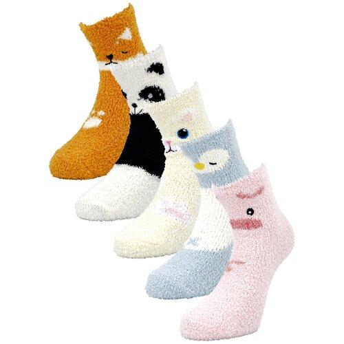 Женские демисезонные носки Guarneri из мягкого кораллового флиса, 5 пар в подарочном пакете. Размер 36-40. Принт животные. Цвет светло-оранжевый, молочный, черно-белый, голубой, розовый.