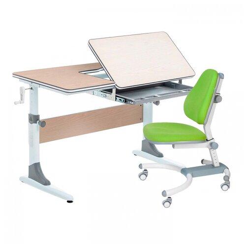 Комплект Anatomica Smart-40 парта + кресло клен/серый с зеленым креслом K639 комплект anatomica smart 60 парта study 120 lux кресло armata duos надстройка органайзер ящик клен серый зеленый