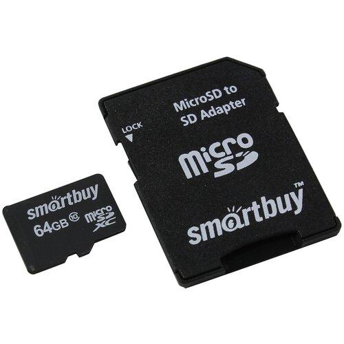 Фото - Карта памяти SmartBuy microSDXC Class 10 + SD adapter 64 GB, адаптер на SD карта памяти qumo microsdxc class 10 uhs class 1 sd adapter 64 gb адаптер на sd