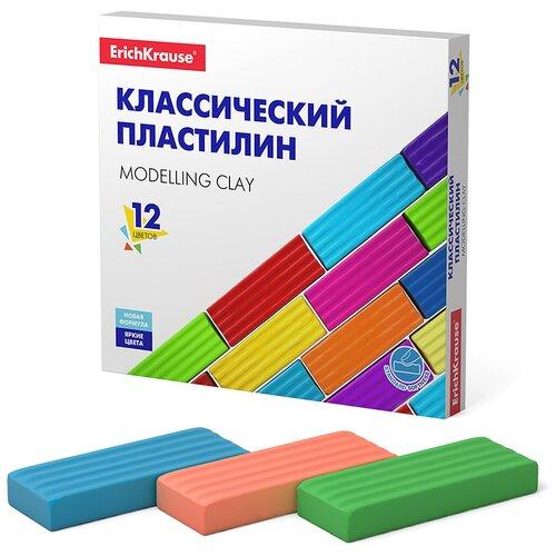 Купить Пластилин ErichKrause Классический Basic 12 цветов/192 г (50558), Пластилин и масса для лепки