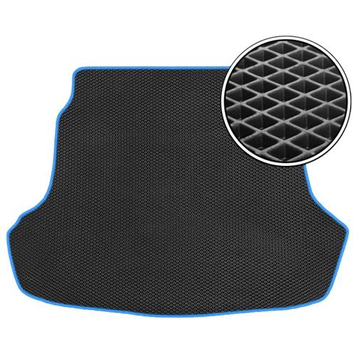 Автомобильный коврик в багажник ЕВА Nissan Tiida 2004 - 2012 хетчбек (багажник) (синий кант) ViceCar