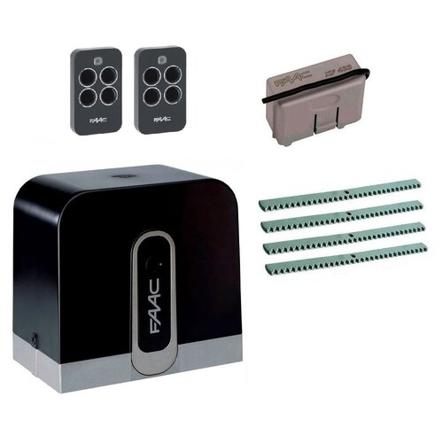 Автоматика для откатных ворот FAAC C720KIT-KR4, комплект: привод, радиоприемник, 2 пульта, 4 рейки автоматика для откатных ворот faac c720kit fa4 комплект привод радиоприемник 2 пульта фотоэлементы 4 рейки