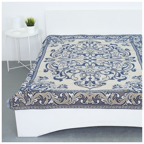 Покрывало гобеленовое на кровать и диван, Вселенная Текстиля, пл.400, Канделябры синий 147х210 см