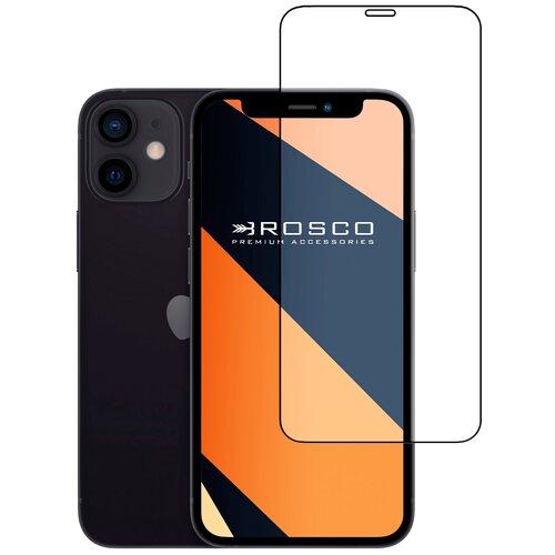 Защитное стекло с черной рамкой ROSCO для Apple iPhone 12 (Эпл Айфон 12) и iPhone 12 Pro (Айфон 12 Про), силиконовая клеевая основа