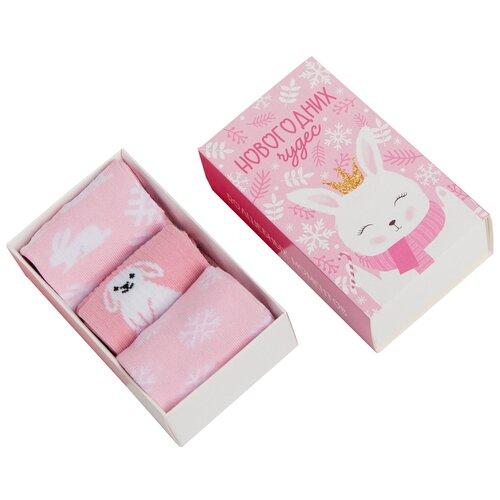 Купить Носки Kaftan Зайка комплект 3 пары размер 18-20, белый/розовый