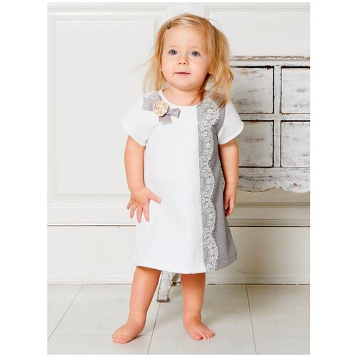 Платье Трия размер 80-86, экрю/серый боди трия размер 80 86 коралловый