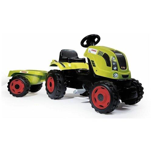 Веломобиль Smoby Трактор Claas XL с прицепом, светло-зеленый