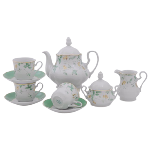 Сервиз чайный Мэри-Энн Зелень и золото, 15 пр., Leander