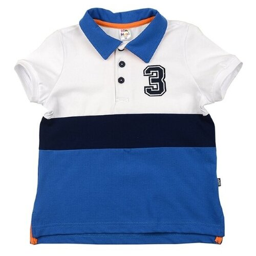 Купить Футболка-поло Mini Maxi 4601, цвет белый/синий, размер 104, Футболки и майки