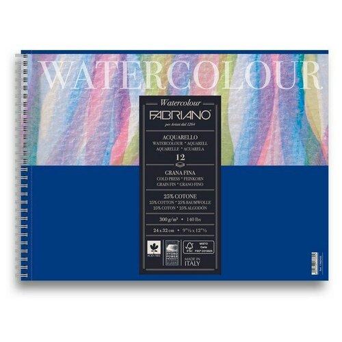 Фото - Альбом для акварели на спирали Fabriano Watercolour 24x32 см 12л 300г/м.кв 17662432 альбом для акварели fabriano watercolour 300 г м2 а6 10 5 х 14 8 см склейка с одной стороны 20 л