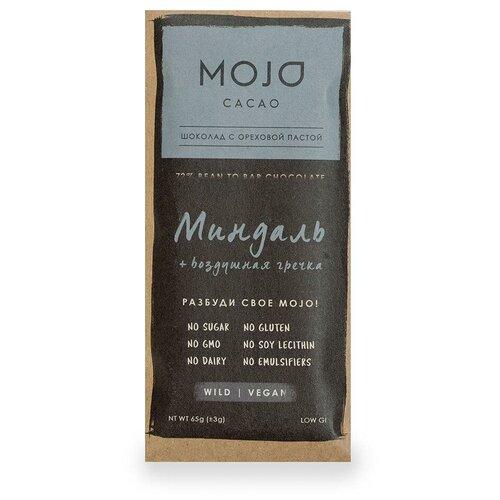 Шоколад Mojo Cacao Горький веганский с ореховой пастой Миндаль-Воздушная гречка, 65 г