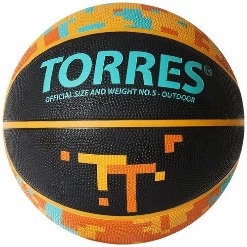 Баскетбольный мяч TORRES TT B02125, р. 5 черный/оранжевый мяч баскетбольный torres slam b02065 р 5
