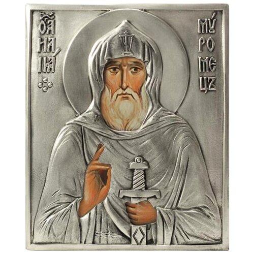 Икона Святой Илья Муромец (посеребрённый оклад), 13х15.5 см