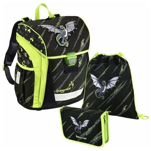 Школьный ортопедический рюкзак Step By Step BaggyMax Niffty 3 предмета Дракон черный с салатовым