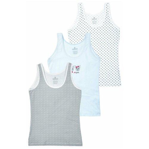 Купить Майка BAYKAR 3 шт., размер 6, белый/серый/голубой, Белье и купальники