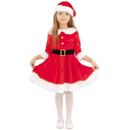 Купить Костюм пуговка Мисс Санта (2062 к-19), красный, размер 110, Карнавальные костюмы