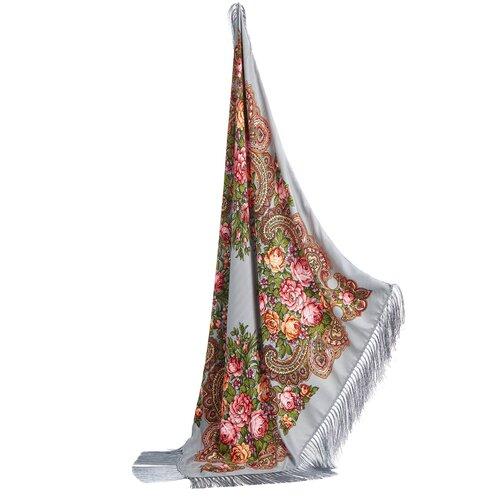 Платок с павлопосадским узором и длинной бахромой Nothing But Love (серый; розовый; оранжевый) 98 х 98 см