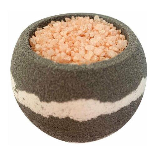 Купить Бомбочка для ванн с шиммером и морской солью серая, гейзер для ванн - бурлящий шарик, 290 гр, Bomb Master