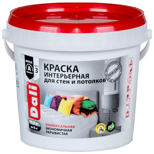 Краска акриловая DALI интерьерная для стен и потолков влагостойкая моющаяся глубокоматовая белый 0.9 л