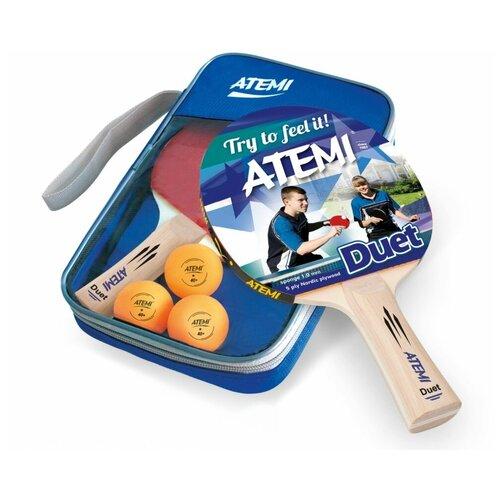 Фото - Набор для настольного тенниса Atemi DUET (2 ракетки+чехол+3 мяча*) набор для игры в теннис abtoys 2 ракетки 2 мяча на блистере 43x21x4 5