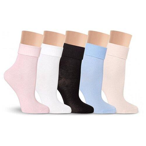 Носочки из бамбука LorenzLine Б10 Премиум с подворотом, Розовый, 23 (размер обуви 36-37)
