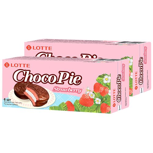 Печенье покрытое шоколадом Чоко Пай со вкусом клубники Lotte, 168 г х 2 шт печенье грибочки домашние грибочки глазурь со вкусом клубники со сливками 270 г