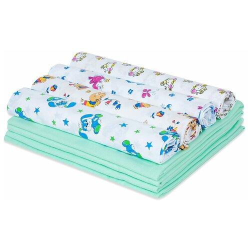 Купить Набор пеленок для новорожденного «В роддом» (ситец ассорти + фланель фисташка) по 4 шт, Чудо-Чадо, Пеленки, клеенки