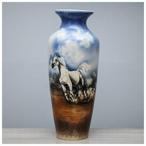 Керамика ручной работы Ваза напольная Виктория, белый конь, небо, 69 см, керамика ваза керамика ручной работы кегля 4341586 коричневый