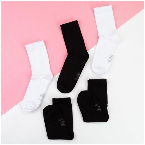 Носки Kaftan Классика 5189707/5189709, 5 пар, размер 23-25 см (37-39), белый/черный