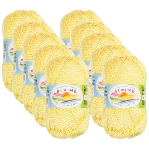 Купить Пряжа Alpina Anabel, 100 % хлопок, 50 г, 120 м, 10 шт., №177 св.желтый