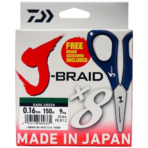 Фото - Плетеный шнур DAIWA J-Braid X8E-W/SC dark green 0.16 мм 150 м 9 кг плетеный шнур daiwa j braid x4 dark green 0 13 мм 270 м 5 9 кг