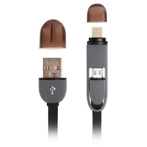 Фото - Кабель 2 в 1 RITMIX RCC-200, micro USB/lighting - USB, плоский, 1 А, 1 м, черный 2819664 кабель ritmix rcc 430qc type c usb 1 м black