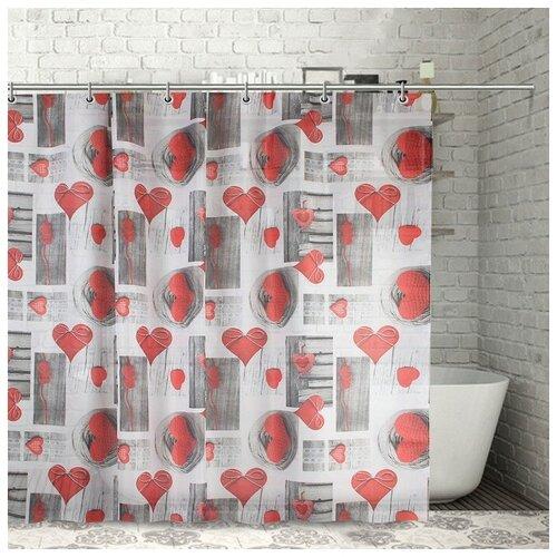 Штора для ванной Доляна Сердца 180x180 сердца штора для ванной доляна малевич 180x180 малевич