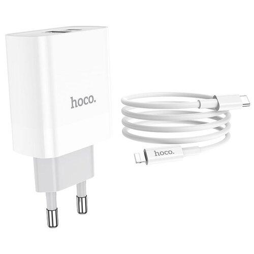 Фото - Сетевая зарядка Hoco C80A Rapido + кабель USB Type-C - Lightning, white сетевая зарядка hoco c11 кабель micro usb white белый